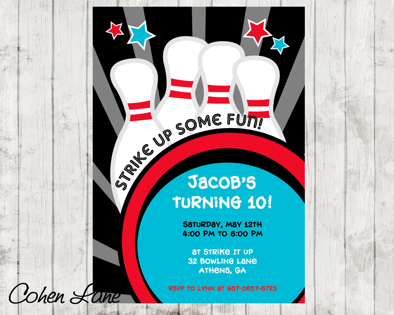 Bowling-Party-Einladung. Bowling-Einladung. Bowling - Einladungskarte Bowling
