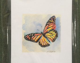 Blank Cards with Butterflies. 2 butterflies, 6 cards 6 envelopes. From original watercolor.