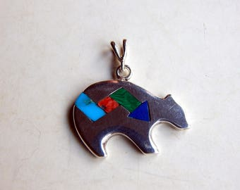 Vintage Sterling Silver Bear Pendant Turquoise Lapis Malachite Inlay
