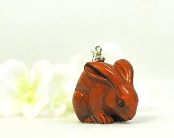 Animal Jewelry Bunny Necklace Mighty Monty - Ojime Pendant - Bunny Jewelry -Pet Bunny Rabbit -Bunny Necklace -Rabbit Jewelry -Nature Jewelry
