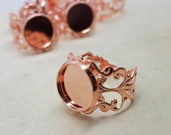 12mm Dark Rose Gold Filigree Adjustable Ring Blanks - 4 Pcs