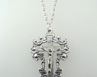Large Ornate Crucifix Necklace