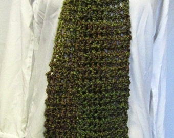 Green and Brown Scarf, 102 Inches, Extra Long, Thick Chunky Yarn Wrap Neckwarmer, Mans, Womans, Neckscarf, Steampunk, Boho, Handmade Crochet