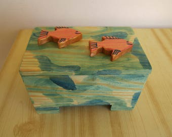 Wooden Box Handpainted with sea colors Handmade