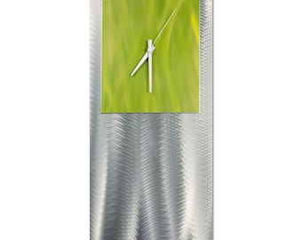 Modern Clock 'Yellow Studio Clock' by Helena Martin - Metal Wall Decor Funky Art Clock on Ground and Colored Aluminum