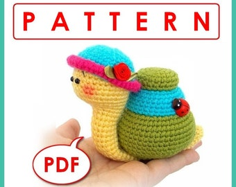 Natalie the Snail - Crochet toy Amigurumi pattern PDF