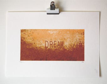 Dream Limited Edition Screenprint in Gold - also available in Silver