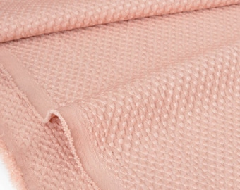 Fabric designer damask beaded fluid polyester peach pink x 50cm
