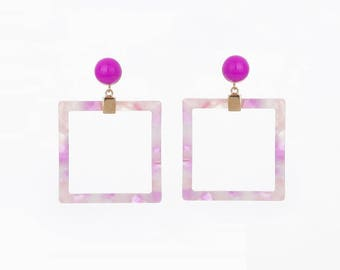 2pcs - Pink Tortoise Pendant Cellulose Acetate, 29x29  connector charms, Resin Acrylic pendant, Pink Pendant  [AT0004-PK]
