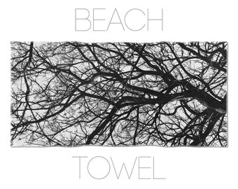 Tree branch beach towel, nature decor, black and white summer gift, home decor, boyfriend gift, gym towel, cotton terry, comfortable. MG035