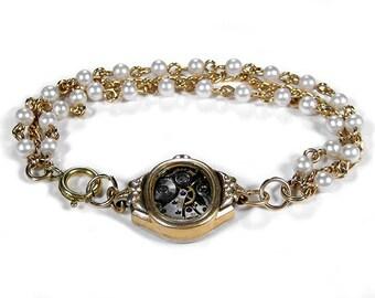 Steampunk Jewelry Bracelet Vintage 10K Gold Watch Case Bracelet BULOVA Pearls Wedding Anniversary Girlfriend Gift - Jewelry by edmdesigns