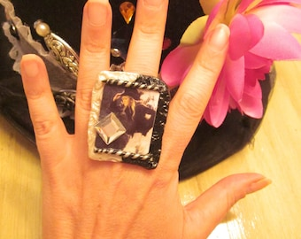 GYPSY GODDESS, Photo RIng, Music Jewelry,Statement ring, BIg RIng, Gypsy Bohemain, Dreamer Jewelry,custom personalized to order