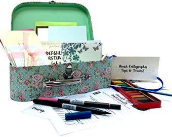 Kids Brush Lettering Calligraphy Kit - Beginners Starter Set by Kirsten Burke
