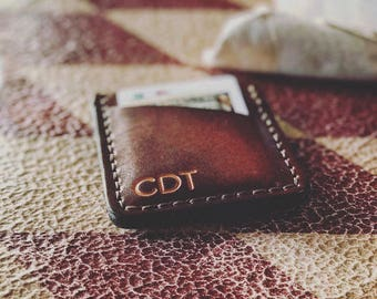 Men's Leather Wallet, Personalized - Hand Dyed Brown Wallet, BUY IT ONCE - Men's or Women's Wallet, 3 Initials - Slim, Thin Front Pocket