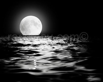 Full Moon Print - Black and White Nature Photography - Moon Art - Lunar Decor