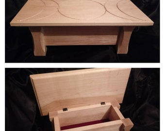 Altar table for spells and ceremonies handmade in maple with hinged top