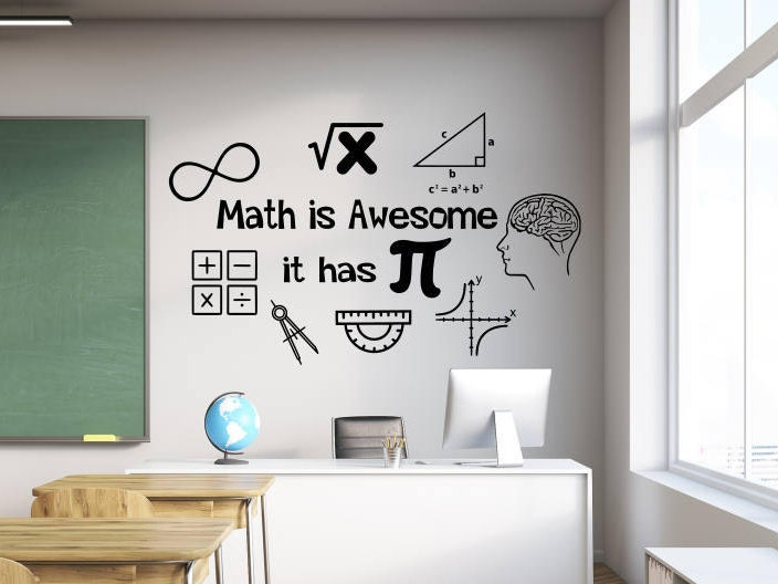 Math Classroom Wall Decorations ~ Math wall decal decor classroom