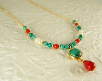 Turquoise coral necklace, Pearls necklace, Eilat stone pendant, Gold filled necklace, Gem stone necklace, Tribal necklace, Tibetan necklace.