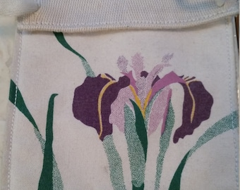 Vintage Iris Hanging Pouch As Is Cord Flower Childs Purse
