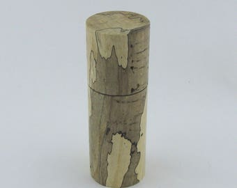 Spices and peppermill grinder in spalted Maple, Cylinder style with rod mechanisme  7 inch X 2 3/8 D. , article no: 946
