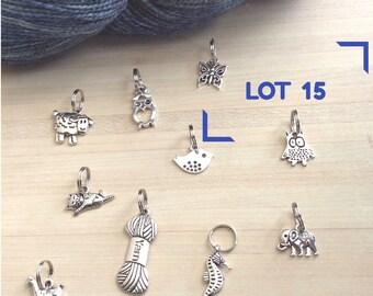 Lot de 10  anneaux marqueurs pour votre tricot - Lot numéro 15 - thème animaux