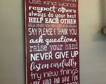 Teacher Gift Classroom Rules Personalized