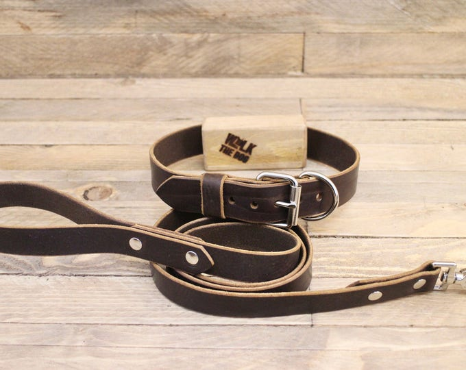 Leather dog collar, Dog leash, Set collar and leash, FREE ID TAG, Cocoa, Handmade leather collar, Silver hardware, Leather leash, Dog collar