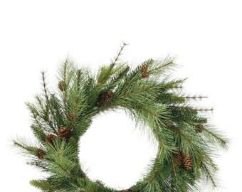 "Mixed Pine Wreath 24"""