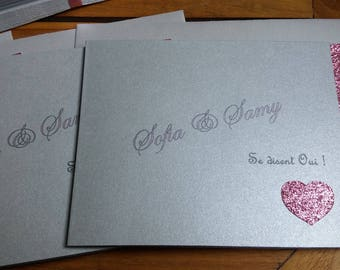 Silver Rose glitter wedding invitation
