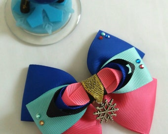 Frozen, Anna Inspired Hair Bow, Pink, Blue, Turquoise, Black, Gold,Snowflake,Headband,Fancy Dress,Hair Accessory, UK