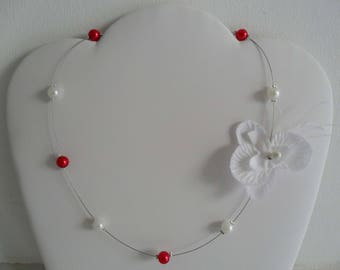 White Orchid Necklace red white pearls wedding jewelry