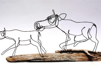 Moose and Calf Wire Sculpture, Moose Art, Moose Wire Art, Wildlife Sculpture, 479765853