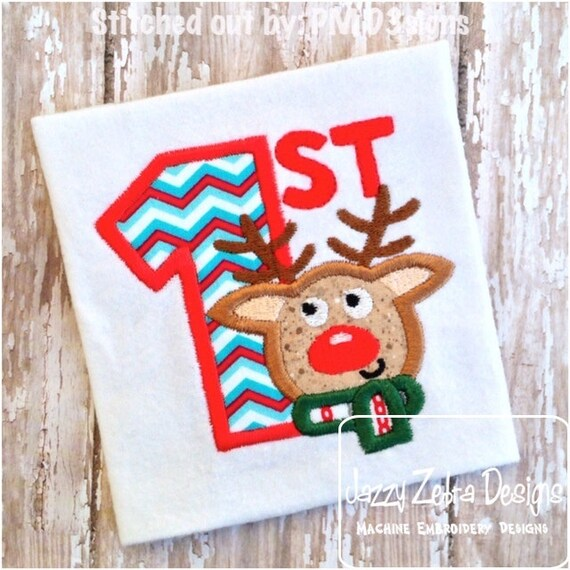1st Christmas Reindeer Appliqué embroidery Design - reindeer Appliqué Design - 1st Christmas Appliqué Design - Christmas Appliqué Design