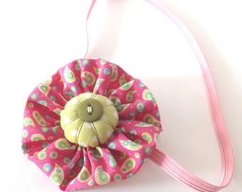 Planner band, pink and green elastic bookmark, handmade Fabric yoyo bookmark with button, teacher gift, book lover, planner acessory, mlt11