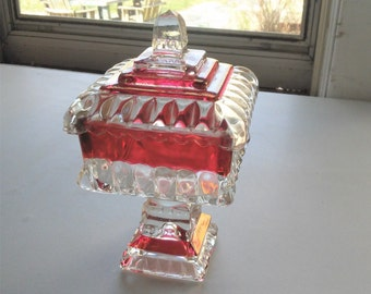 VINTAGE Tiffin Kings Crown Candy Dish, Ruby Red Flash Glass Compote, Red Indiana Glass Dish with Lid