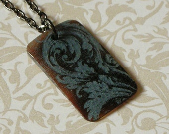 Victorian Scroll Rectangular Pendant Necklace - Blue