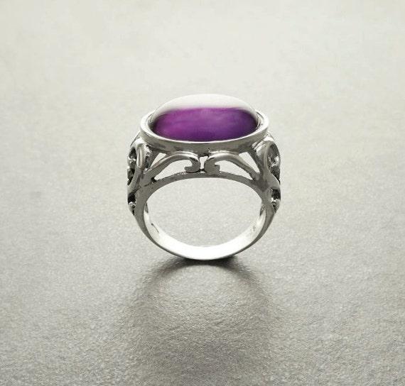 Genuine Amethyst Ring, Sterling Silver, NATURAL Amethyst Gemstone, Oval Horizontal Purple Stone Jewelry, Filigree Band, Boho Vintage Ring