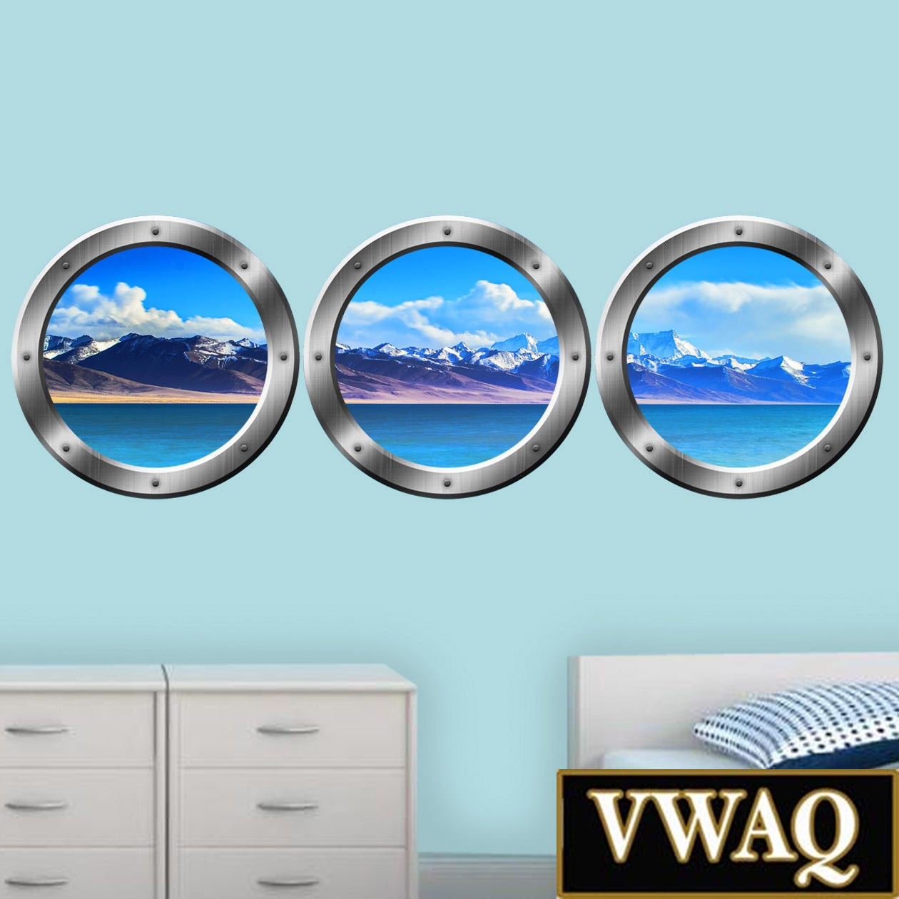 Cruise Ship Window Decals Ocean Scenery View Porthole