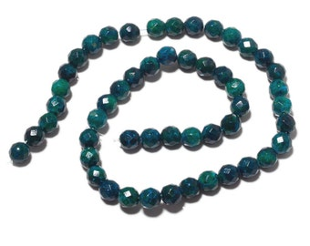 Chrysocolla Color Jasper Beads, Faceted Round Chrysocolla Beads, 8mm Each, 15 Inch strand, SKU-MM17/2