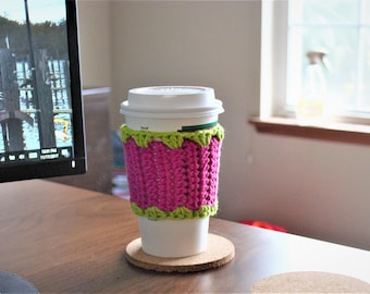 Coffee Cozy, Cup Sleeve, Crochet Cozy, Reusable, Hot or Cold, Crochet Coffee Cozy, Tea Cozy, Hot Chocolate Cozy, Coffee Gift, Gift for her,