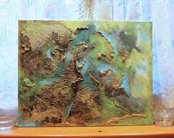 Blue-Green Abstract Painting - Mixed Media