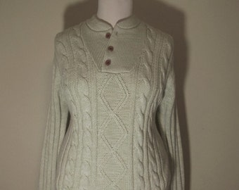 Vintage Cable Knit Fisherman Henley Sweater Women's L XL