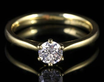 Diamond Solitaire Engagement Ring 18ct Gold 0.60ct VS1