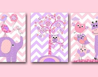 Baby Nursery Decor Kids Wall Art Kids Art Pink Baby Girl Nursery Art Print Art for Children Kids Room Decor Nursery Print Boy set of 3