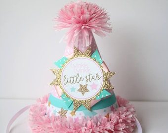 Twinkle Star Party Hat - First Birthday Party Hat - Twinkle Twinkle Little Star First Birthday - Girl Birthday - Pink Gold Aqua Turquoise