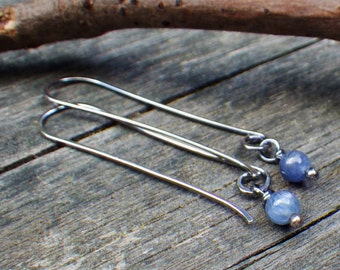 Kyanite sterling silver long dangle earrings