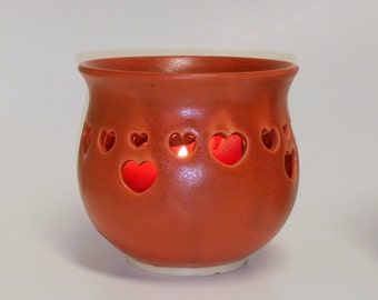 Orange Paprika Votive Candle Holder or Luminary with Heart Cut-outs - Wheel Thrown Pottery
