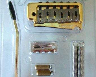Guitar Tremolo Bridge, Mighty Mite Two Point Tremolo System For Fender Stratocaster, Gold Finish
