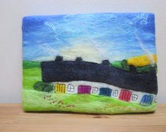 textile art, felt painting, felt and stitch, wall art on canvas