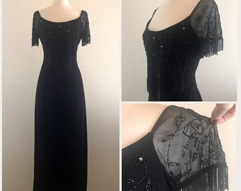 SHOP SALE Beaded Fringe Black Dress by Stenay - 80s 90s Does 30s 40s Flapper - Full Length Dress with Beaded Bodice Size Small